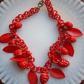 Red celluloid chain and charm necklace. New favorite! - Costume Jewelry