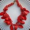 Red celluloid chain and charm necklace. New favorite!