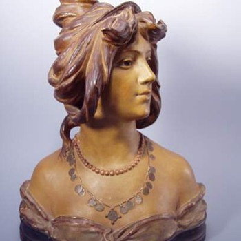 Antique Bloch Art Nouveau Terra Cotta Woman's Bust - Art Pottery