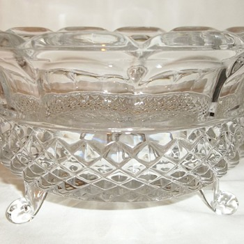 Cut Glass 3 Footed Bowl (weighs almost 2-1/2 lbs) - Glassware