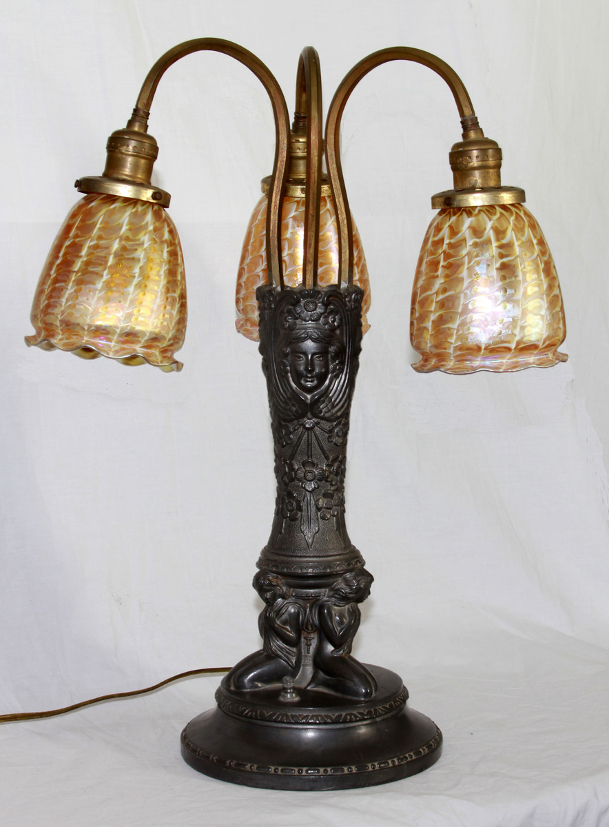 lustre art 3 shade lamp long island glass collectors weekly. Black Bedroom Furniture Sets. Home Design Ideas