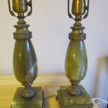 green marble or onyx table lamps