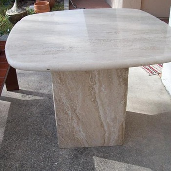 Mid Century - Travertine End Table - Cube Style - Mid-Century Modern