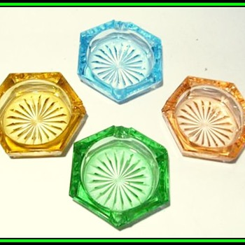 Bohemian Czech - Small Glass Ashtrays ( Two Different Examples )