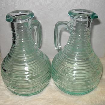 Cruets Set Aqua Ribbed From Italy - Bottles