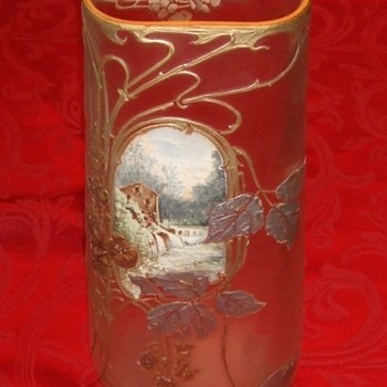 Mont Joye Chipped Ice Vase with enameled scene - Art Glass
