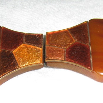 Copper enamel & bakelite sash ornament from Czechlosvakia - Costume Jewelry