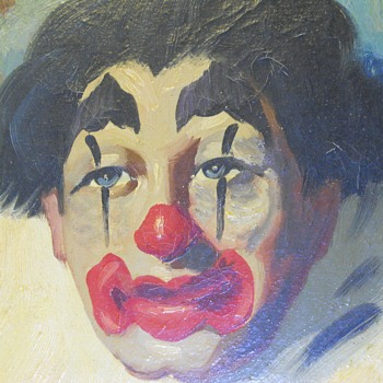 "Oil painting on canvas""Clown- 1""""Toni"" Early 1940-50 - Visual Art"