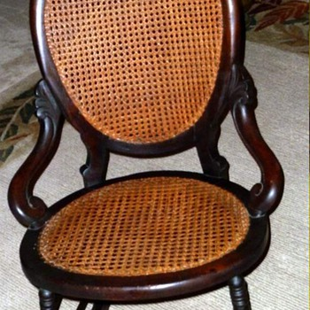 19th Century Ladies Caned Rocking Chair - Furniture