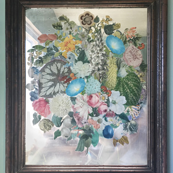 Unusual Victorian Paper Craft on Mirror