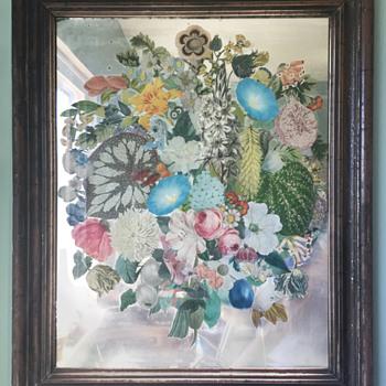 Unusual Victorian Paper Craft on Mirror - Victorian Era