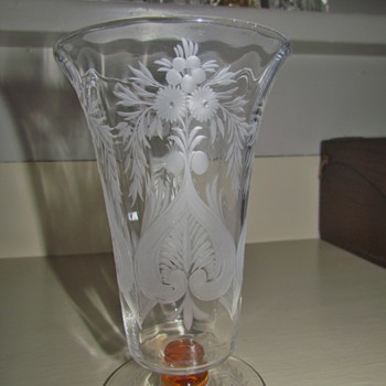 Vintage Etched Vase or Possibly Parfait - Probably American - from AmberRose!