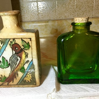 Antique Qajar Bottle With Unique Unknown Glass Flask - Bottles