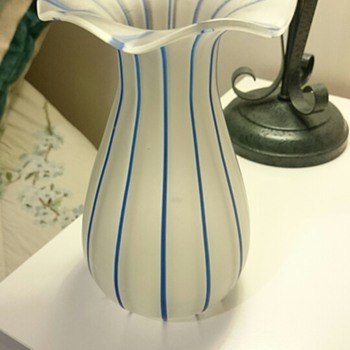 Glass vase with blue detailing - old or new? - Art Glass