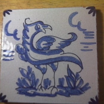 Blue Bird Tile - Art Pottery