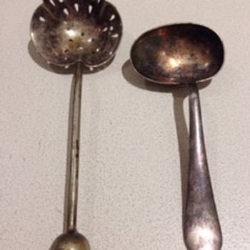 Spoon and tea strainer - Sterling Silver