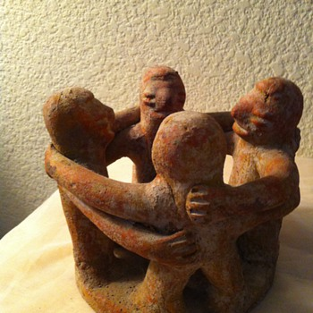 Native American Planter - Incense holder ? 4 Masked Men Red Stoneware - Native American