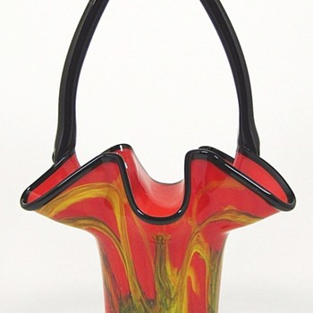New Rückl Shape: Red Art Deco Glass Basket - Yellow & Green Swirl Decor - Art Glass