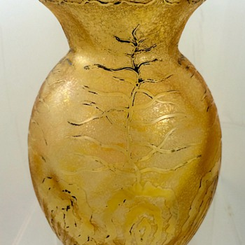"Carl Goldberg acid cut-back vase, ca. 1900 - an unconventional ""restoration"" - Art Glass"
