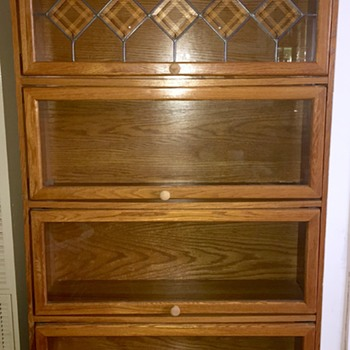 Vintage Antique Oak Panelled Glass Bookcase Cabinet  - Arts and Crafts