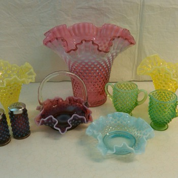 MORE PIECES OF FENTON HOBNAIL FROM MY COLLECTION