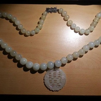 Chinese antique white jade jadeite necklace/choker
