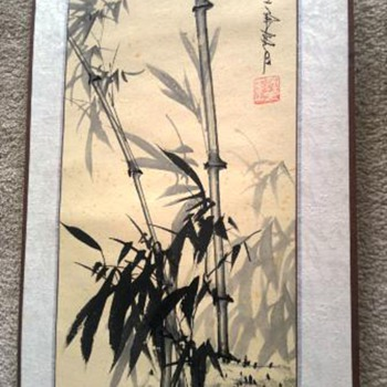 Oriental painted scroll on paper  - Asian