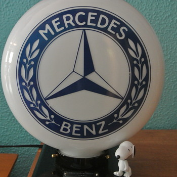 Mercedes Benz 2-Sided Milk Glass Globe Light  - Advertising
