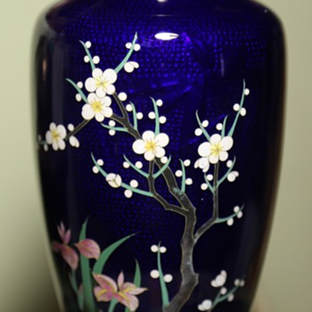 Cloisonne Vase from Japan with Hidden Image of a Bird - Asian