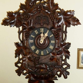 Old Quail & Cuckoo Clock ~ The Fox and the Grapes ca. 1900 - Clocks