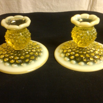 STUNNING PAIR OF FENTON TOPAZ [VASELINE] OPALESCENT HOBNAIL CANDLE HOLDERS