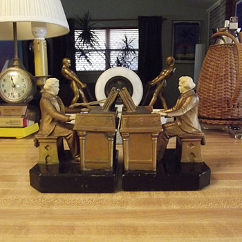1932 J. B. Hirsch Beethoven Bookends designed by J Ruhl - Art Deco