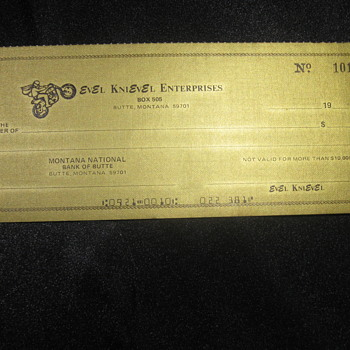 Evel Knievel . . . Personal Gold Check - Paper