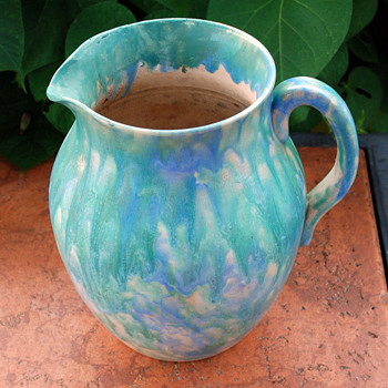 Multi Glazed Redware Pitcher - Art Pottery