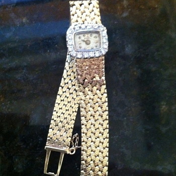 1960&#039;s Vintage abel square diamond 14k gold ladies watch