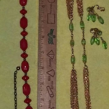Red & Green Necklace & Earring Sets - Costume Jewelry
