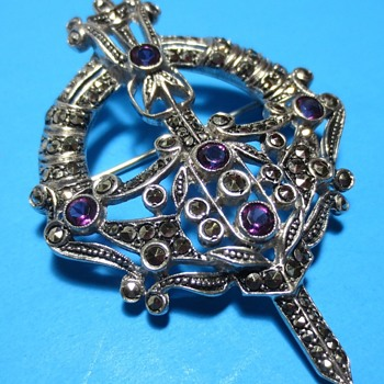 Celtic Silver Kilt ? Pin with Marcasite & Amethyst or Glass Rhinestones - Fine Jewelry