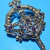 Celtic Silver Kilt ? Pin with Marcasite & Amethyst or Glass Rhinestones
