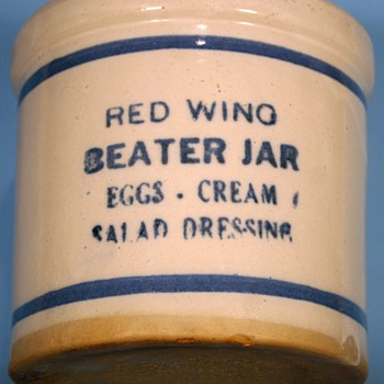 Vintage Sunder's General Merchandise~Jordan, MN ~Red Wing Pottery Beater Jar - Art Pottery