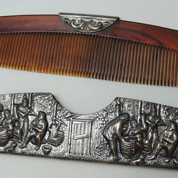 Ornate Pewter or Silver plate Comb - DENMARK