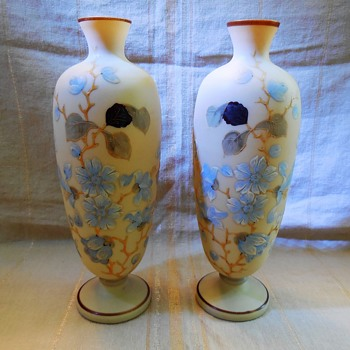 Antique Bristol Custard Glass Vase Pair Satin Hand Painted Blown Glass?