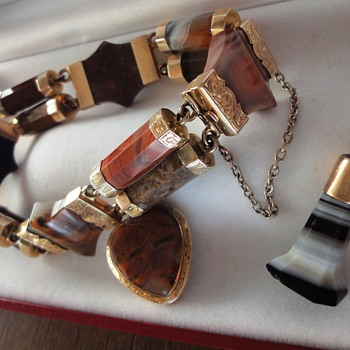 Banded Agate Watch Fob/Pendant  - Fine Jewelry