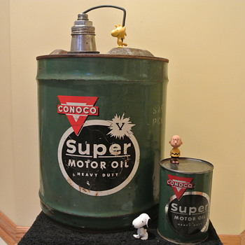 "Vintage ""Conoco Super Motor Oil"" Metal Cans.  Five Gallon and One Unopened Quart"