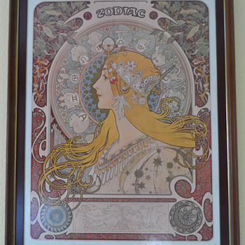 Zodiac of Mucha with word zodiac at the top - Posters and Prints