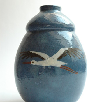french art deco pottery vase with stork pattern by JEAN GARILLON , manufacture Elchinger, soufflenheim