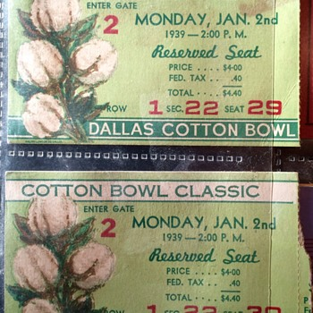 1939 COTTON BOWL CLASIC Ticket Stubs