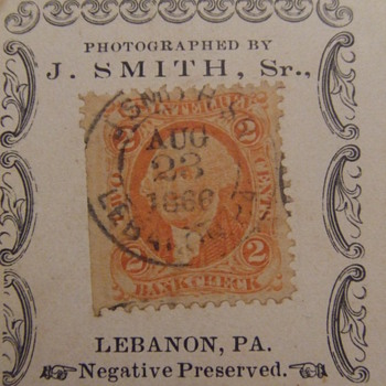 Civil War revenue tax stamps on photographs