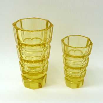 Two yellow Josef Hoffmann vases