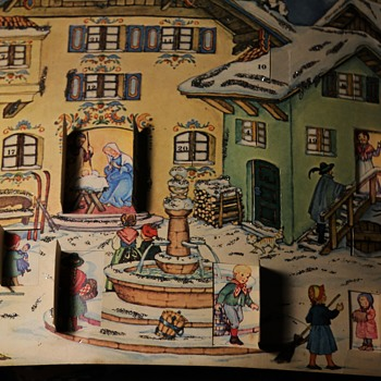 Vintage 1950s? West German Advent Calendar with Glitter! - Christmas