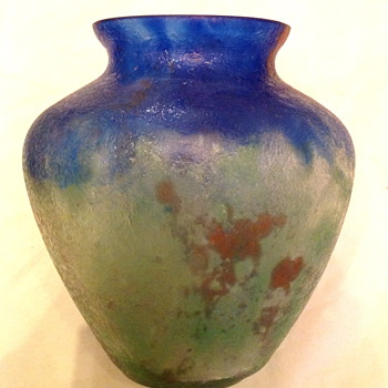 Czech :  Chipped Ice / Glue Chip Blue and Green Oval Vase